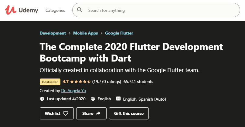 1_The Complete 2020 Flutter Development Bootcamp with Dart_Best Mobile App Development Courses